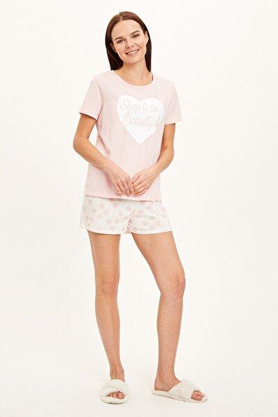 Kadın Beyaz Baskı Detaylı Kurdelalı Pijama Takımı R4524AZ.20SM.WT34
