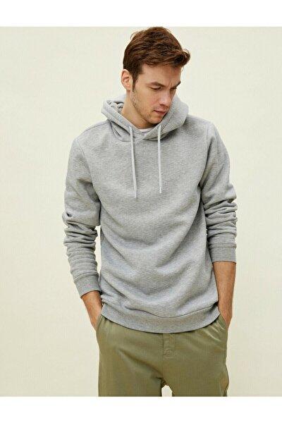 Erkek Gri Pamuklu Kapüşonlu Uzun Kollu Basic Sweatshirt