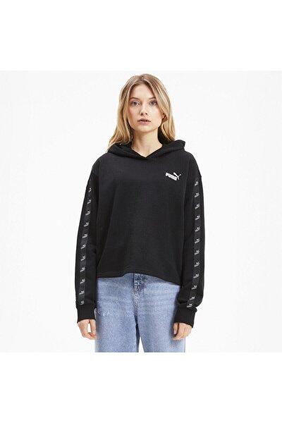 Kadın Siyah Amplıfıed Kısa Kesim Kapüşonlu Sweatshirt