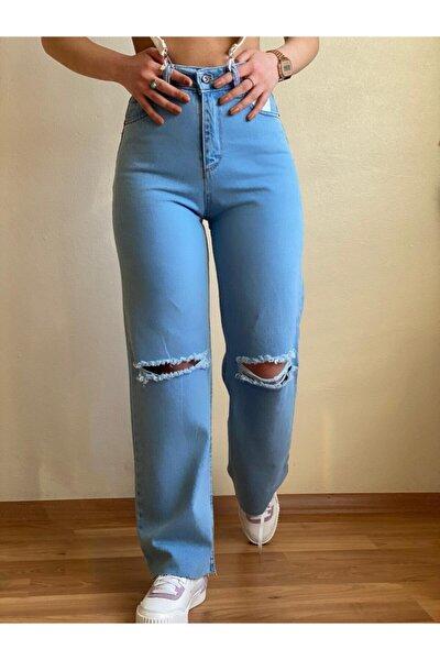 Kadın Mavi Yüksek Bel Yırtıklı Jean