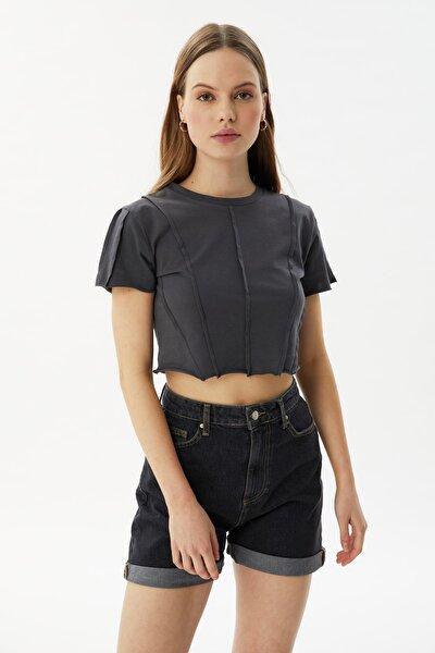 Antrasit Biyeli Crop Örme Bluz TWOSS21BZ2050