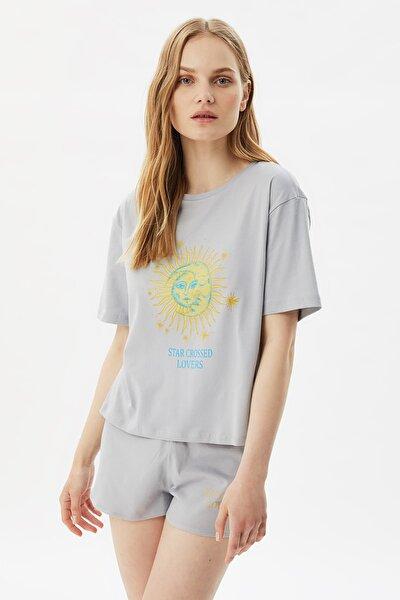 Gri Baskılı Örme Pijama Takımı THMSS21PT0888