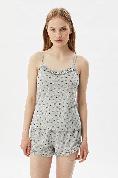 Gri Baskılı Örme Pijama Takımı THMSS21PT0948