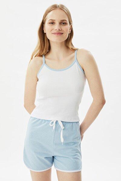Mavi Biyeli Örme Pijama Takımı THMSS21PT0770