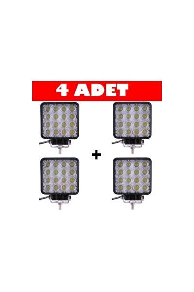 Off Road Beyaz Işık Sis Farı Lambası 16 Led Kare 4 Adet-12-24v 48 Watt 6500k