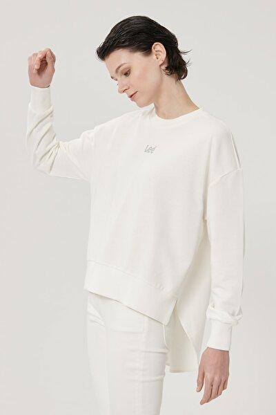 Kadın Kırık Beyaz Regular Fit %100 Pamuk Sıfır Yaka Sweatshirt