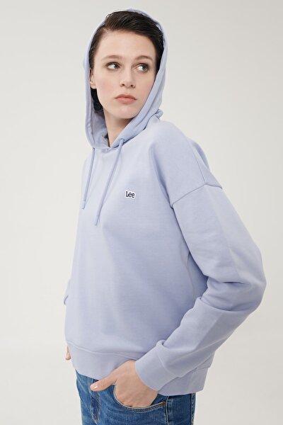 Kadın Açık Mor %100 Pamuk Kapüşonlu Sweatshirt