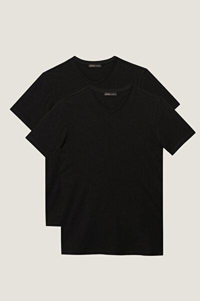 Erkek Siyah Slim Fit Dar Kesim V Yaka 2'Li Tişört Paketi