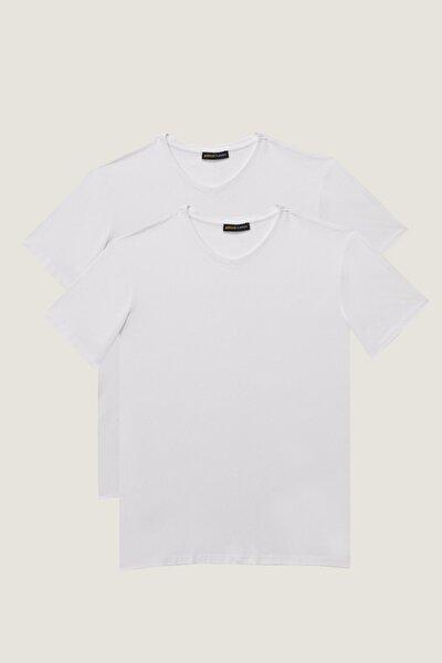 Erkek Beyaz Slim Fit Dar Kesim V Yaka 2'Li Tişört Paketi
