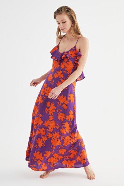Çiçek Desenli Volanlı Viskon Plaj Elbisesi TBESS19WY0004