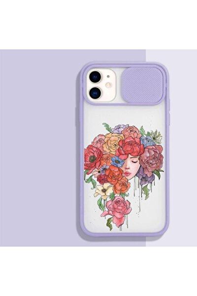 Iphone 11 Uyumlu Renkli Çiçek Saçlı Kız Desenli Kamera Korumalı Lila Telefon Kılıfı