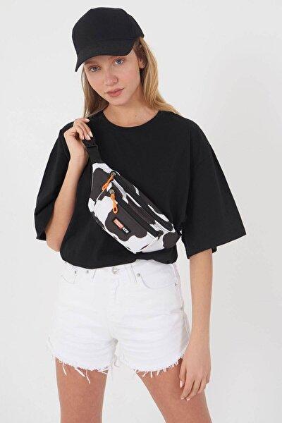 Kadın Siyah Beyaz Inek Desenli Trend Model Bel Çantasıcc-00000-1515