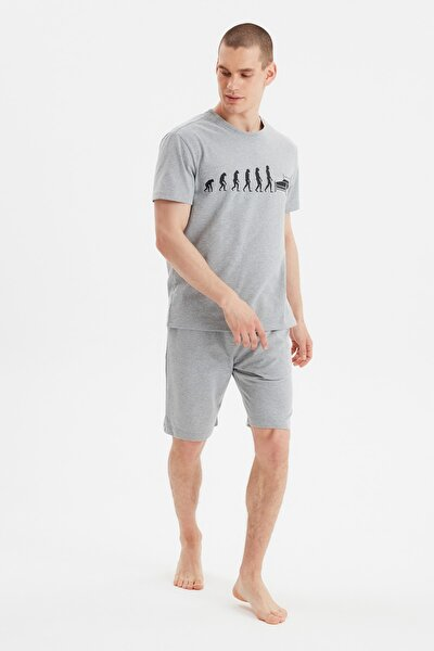 Gri  Örme Pijama Takımı THMSS21PT0965