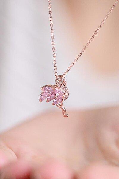 Flamingo Model Pembe Taşlı 14 K Rose Altın Kaplama Kadın Kolye