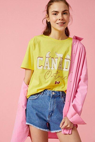 Kadın Sarı T-Shirt 1YAL18871IK