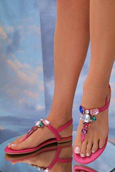 Lavion Hakiki Deri Fuşya Günlük Taşlı Kadın Sandalet