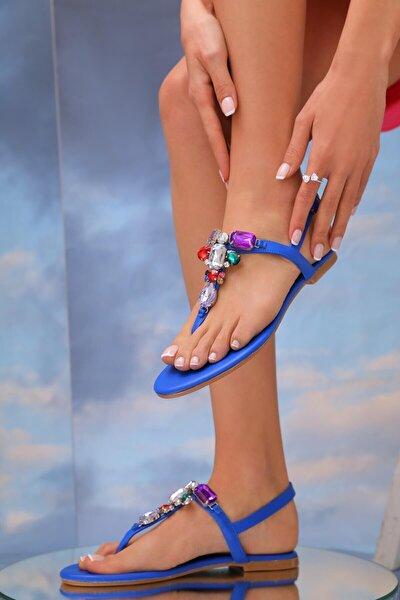 Kadın Mavi Hakiki Deri Günlük Taşlı Sandalet