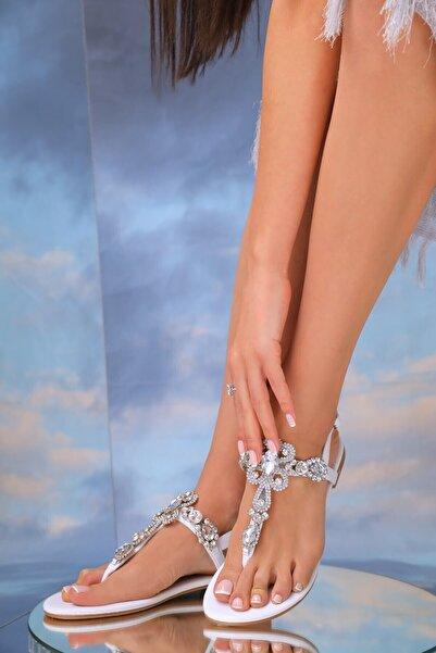 Kadın Hakiki Deri Beyaz Günlük Taşlı Sandalet