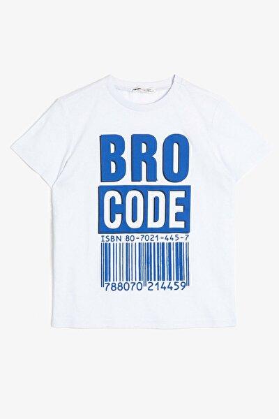 Erkek Çocuk Beyaz Yazili Baskılı T-Shirt