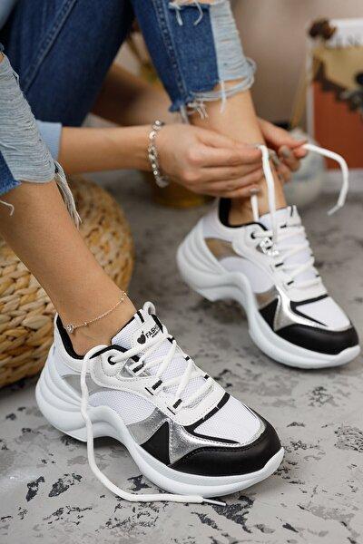 Kadın Beyaz Gümüş Sneaker
