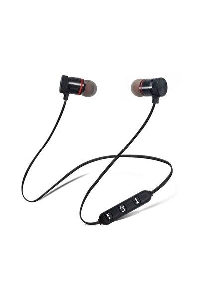 Pro Sport Kablosuz Mıknatıslı Mikrofonlu Bluetooth Kulaklık Siyah