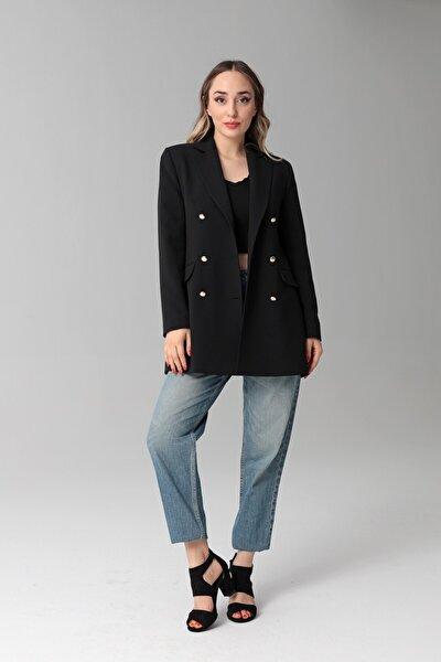 Kadın Siyah Mono Yaka Ceket