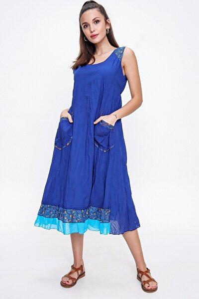 Kadın Saks Mavi Torba Cepli Empirme Otantik Elbise