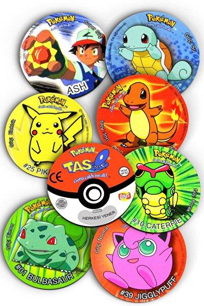 Pokemon Taso Şeklinde, Nostaljik, Dekoratif Bardak Altlığı 8 Adet