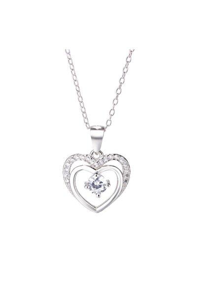 Gümüş Çift Kalp Tektaş Kadın Gümüş Kolye