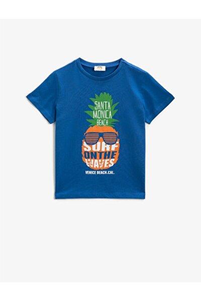Erkek Çocuk Mavi Baskılı Cotton Bisiklet Yaka Kısa Kollu T-Shirt