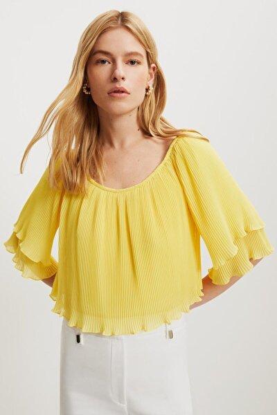 Kadın Sarı Rahat Kalıp Straplez Bluz