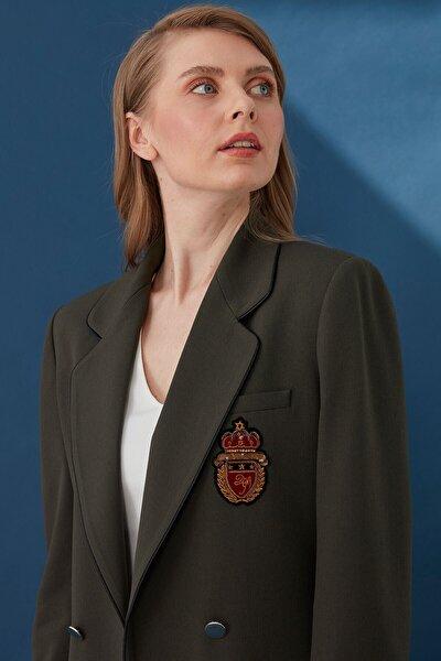 Kadın Haki Biye Detaylı Mono Yaka Ceket