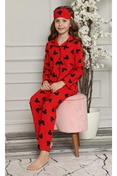 Kız Çocuk Mickey Desenli Pijama Takımı Göz Bandı Dahildir