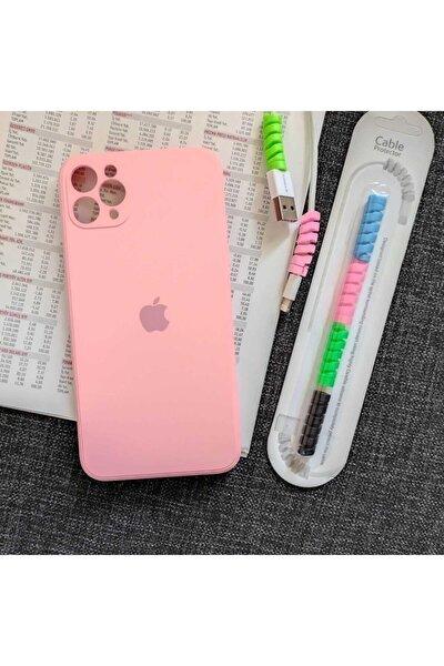 Iphone 11 Pro Max Kamera Korumalı Logolu Lansman Kılıf+kablo Koruyucu