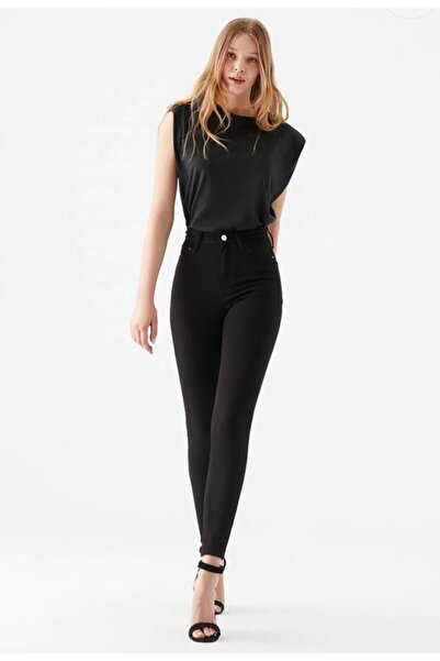 Julia Simsiyah Süper Skinny Jeans Solmayan Siyah Jeans ( Toparlayıcı )
