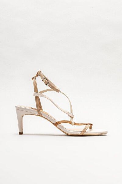 Kadın Bej Topuklu Sandalet