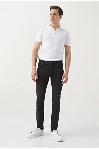 Erkek Siyah  Slim Fit Düz Denim Pantolon