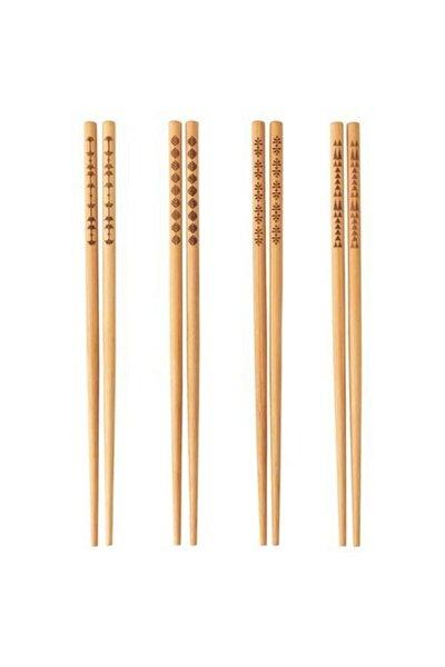 Trebent Yıkanabilir Bambu Chopstıck Japon Çin Yemek Çubuğu 4 Adet