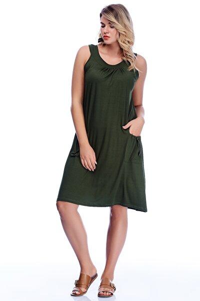 Kadın Haki Viskon Cepli Rahat Kesim Elbise 65N24217