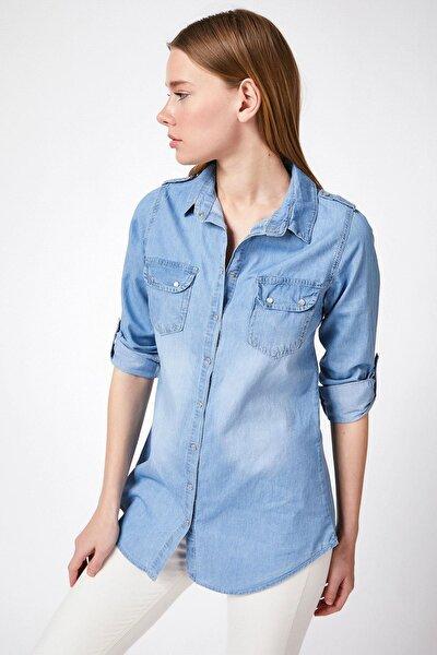 Kadın Cep Detaylı Kot Gömlek Y20s110-3410