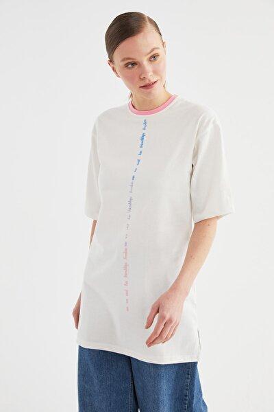 Pembe Baskılı Kısa Kollu Süprem Örme Tesettür T-Shirt TCTSS21TN0217
