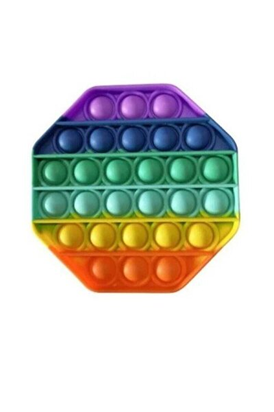 Push Bubble Fidget Özel Pop Duyusal Oyuncak Zihinsel Stres Sekizgen Gökkuşağı