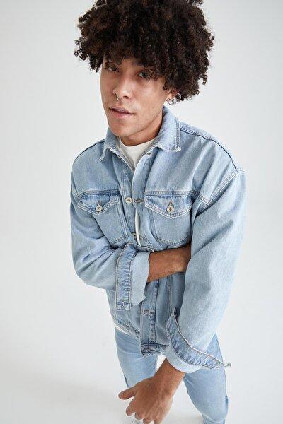 Oversize Fit Basic Jean Ceket