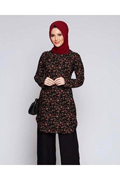Kadın Siyah Çiçek Desenli Tunik