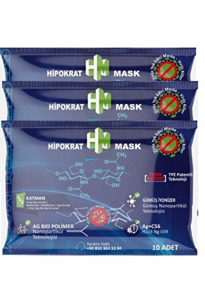 4+4=8 Katlı Cerrahi Maske 10x3 Paket Gümüş Ion & Biopolimer Katmanlı Virüs Öldürücü