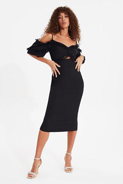 Siyah Dantel Detaylı  Elbise TPRSS20EL0015