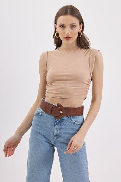 Kadın Büzgülü Crop Kolsuz Tişört