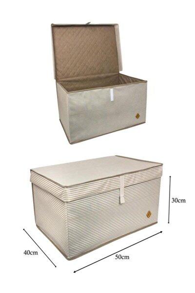 2 Adet Çok Amaçlı Kapaklı Saklama Kutusu Hurç Maxi 50x40x30 Cm