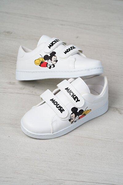 Çocuk Beyaz Baskılı Spor Ayakkabı