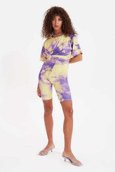 Çok Renkli Batik Desenli Örme Alt-Üst Takım TWOSS21AU0148